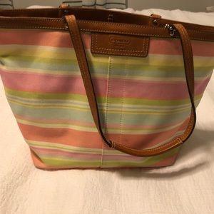 Small multi stripe Coach Tote Bag